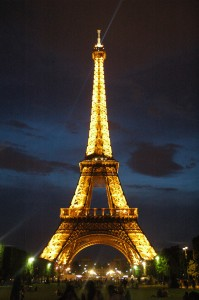 The Eiffel Tower lights up at night